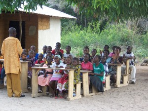 The Sunday school children learn a bible memory verse each week and recite it in worship.