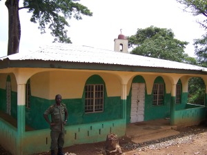 Captain Kamara of the SL Armed Forces, Chief Imam in front of mosque