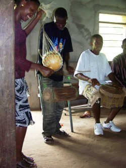 Drums and the shegbura provided accompaniment for dancing.