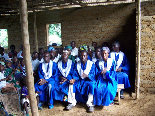 The St. Anthony choir.  They made their own choir robes patterned on robes sent from the NTNL.  They led the congregation in Mende hymns.